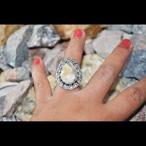 Faceted Agate Statement Ring 6 1/2